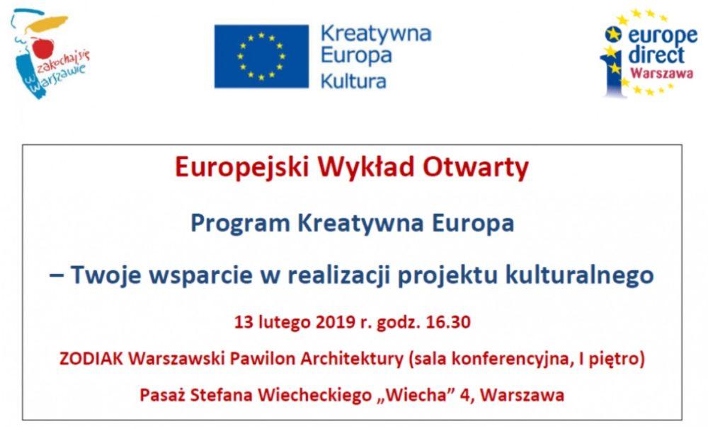 Spotkanie z programem Kreatywna Europa – komponent Kultura w ramach Europejskich Wykładów Otwartych
