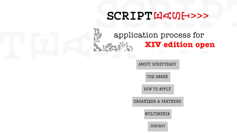 XIV edycja programu ScripTeast dla scenarzystów Europy Środkowo-Wschodniej.