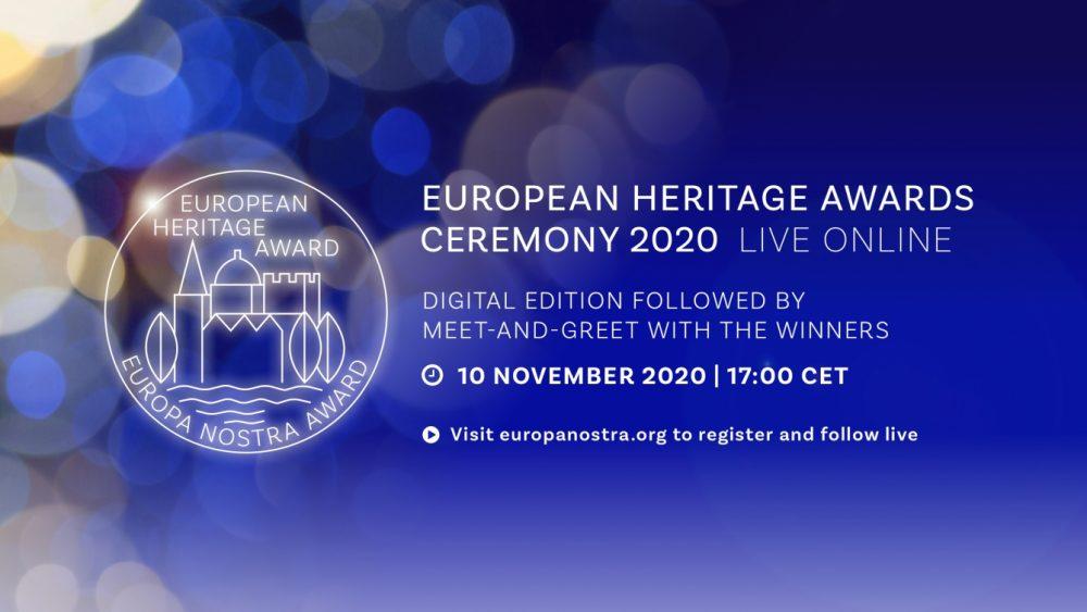 Ceremonia wręczenia Nagród Europa Nostra 2020   online, 10 listopada 2020