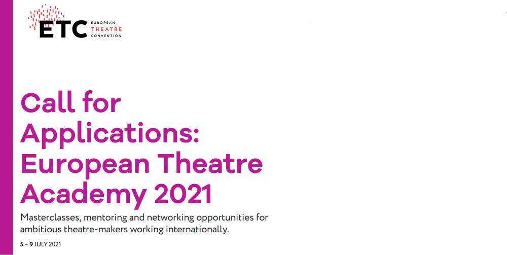 Zaproszenie do udziału w European Theatre Academy 2021
