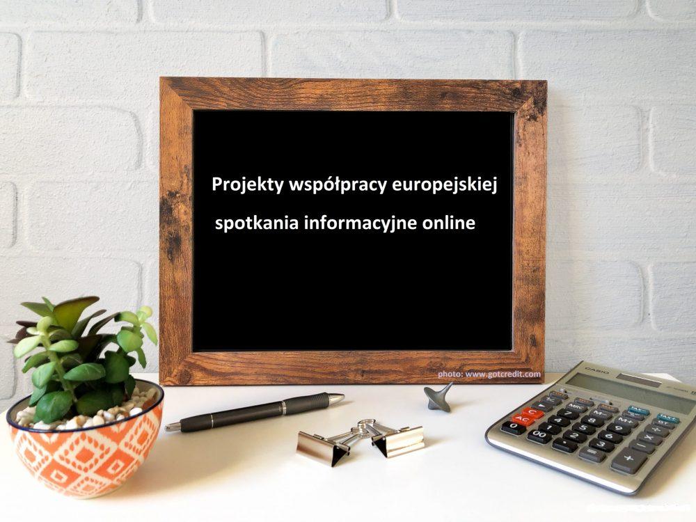 Projekty współpracy europejskiej   spotkania informacyjne online, 13 i 21 lipca 2021