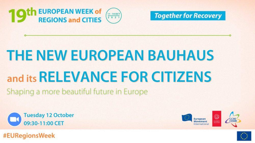 Save the date:  Nowy Europejski Bauhaus i jego znaczenie dla obywateli – kształtowanie piękniejszej przyszłości w Europie